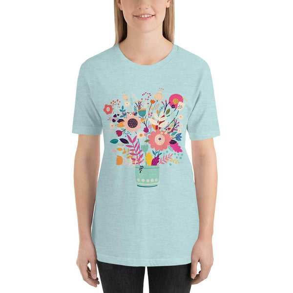 Spring Flowers in Vista Blue Vase Jersey Crew Neck T-shirt - Heather Prism Dusty Blue
