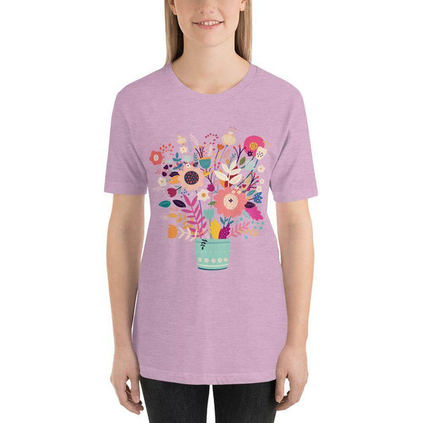Spring Flowers in Vista Blue Vase Jersey Crew Neck T-shirt - Heather Prism Lilac