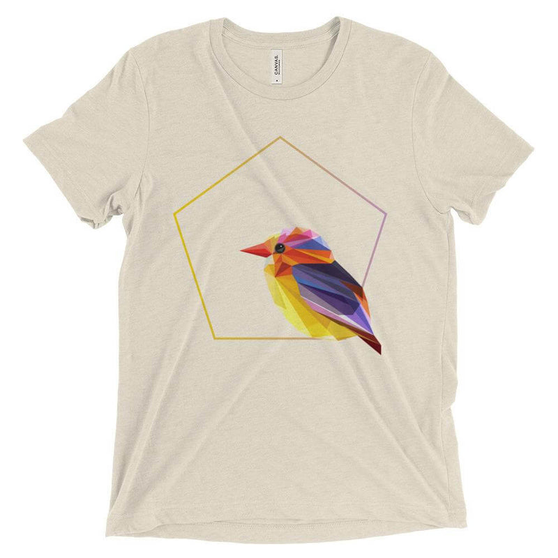 Yellow Bird in Polygon Art Jersey Crew Neck T-shirt - Oatmeal Triblend