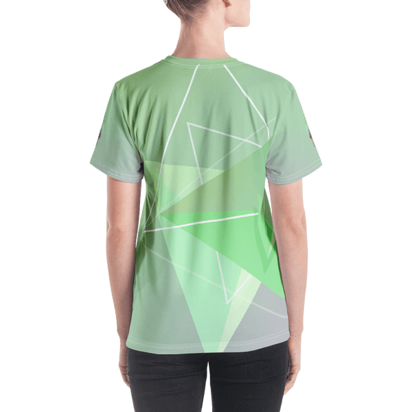 Green Bird in Geometric Art Regular Fit V-Neck T-shirt - Back
