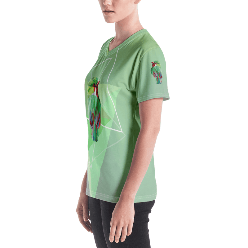 Green Bird in Geometric Art Regular Fit V-Neck T-shirt - Left