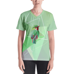 Green Bird in Geometric Art Regular Fit V-Neck T-shirt
