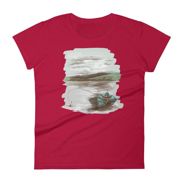 Lakeside Boat Semi-Fitted Crew Neck T-shirt in Retro Style - Red