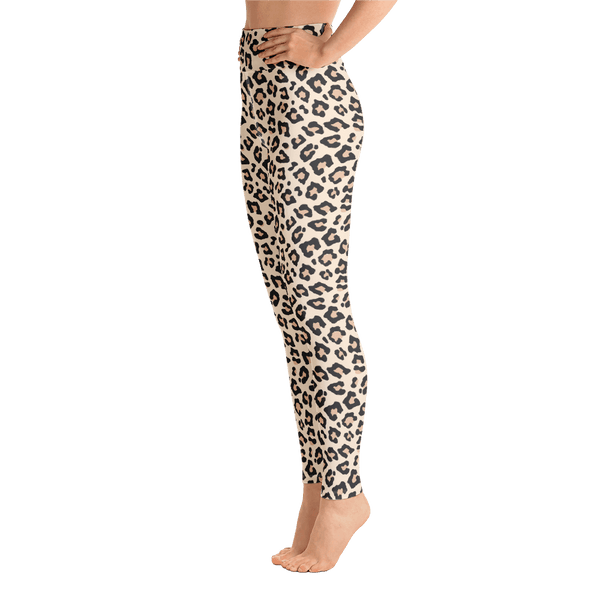 Leopard Print Yoga Leggings - Left