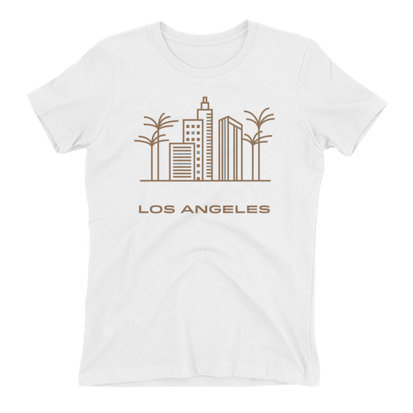 Los Angeles in Sandal Crew Neck Boyfriend T-shirt - White