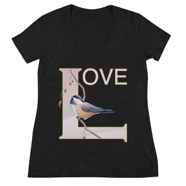 Love Deep V-Neck T-shirt with Winter Chickadee - Charcoal black Triblend
