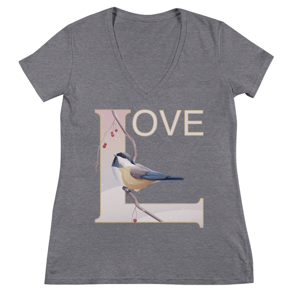 Love Deep V-Neck T-shirt with Winter Chickadee - Grey Triblend