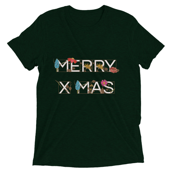 Ornamental MERRY X-MAS Soft Triblend Crew Neck T-shirt - Emerald Triblend