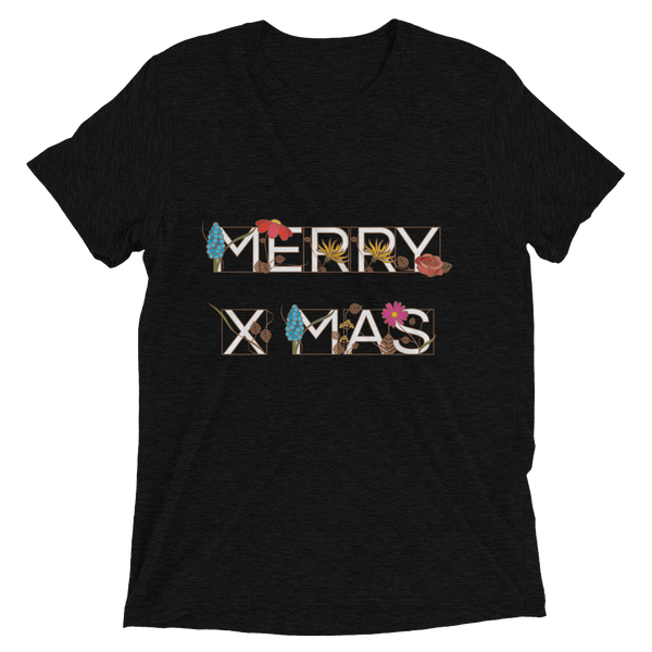 Ornamental MERRY X-MAS Soft Triblend Crew Neck T-shirt - Solid Black Triblend