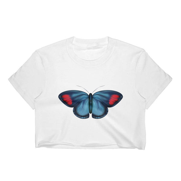 Painted Beauty Butterfly Short Sleeve Crew Neck Crop Top