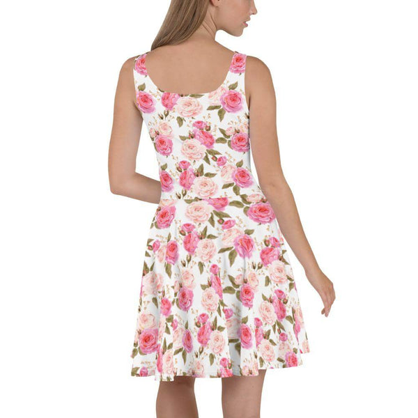 Pink and White Vintage Roses Skater Dress - Back