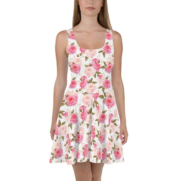 Pink and White Vintage Roses Skater Dress