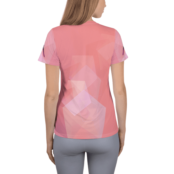 Red Bird Comfort Anti-Microbial Athletic Tee in Polygon Art - Back