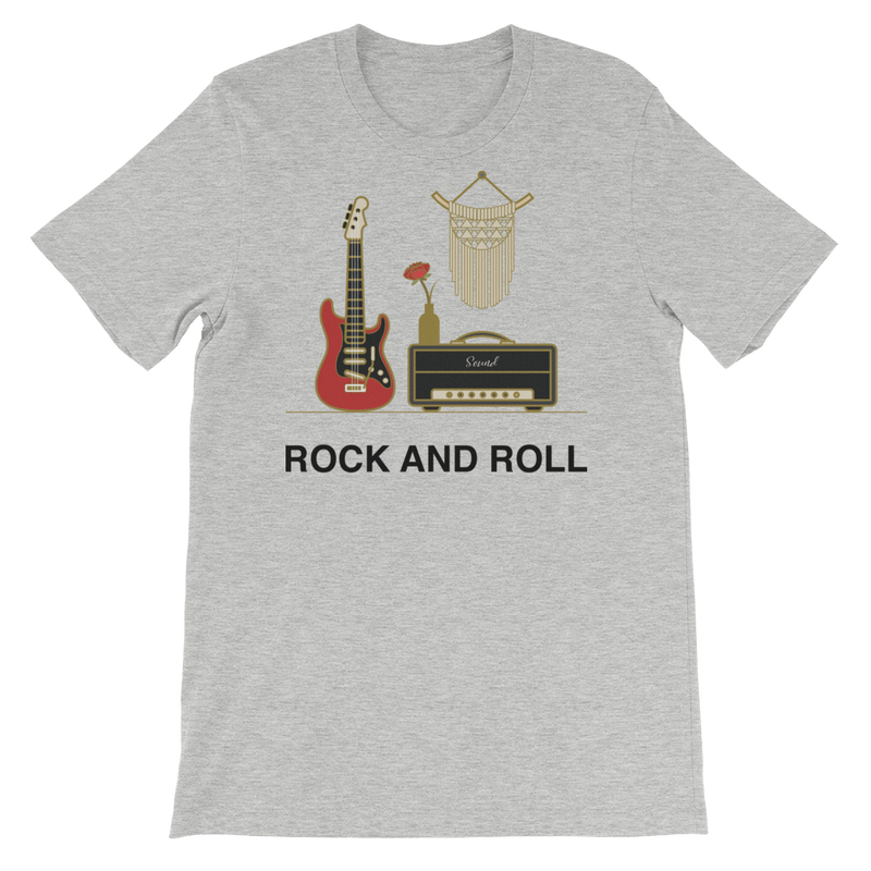 Rock and Roll Jersey Crew Neck T-shirt for Music Lovers - Athletic Heather