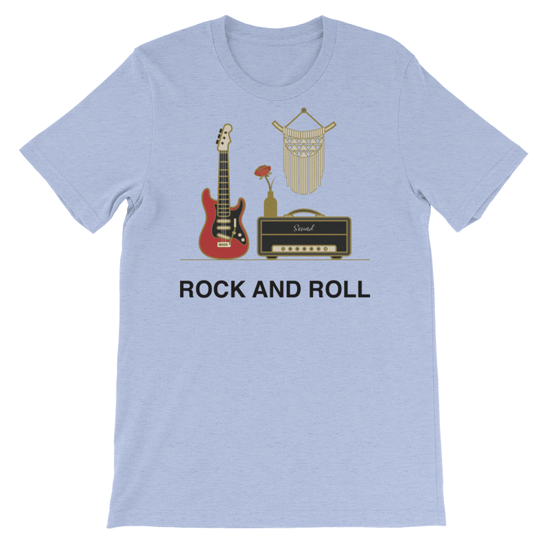 Rock and Roll Jersey Crew Neck T-shirt for Music Lovers - Heather Blue