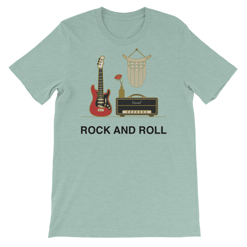Rock and Roll Jersey Crew Neck T-shirt for Music Lovers - Heather Prism Dusty Blue