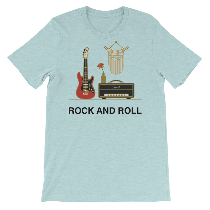Rock and Roll Jersey Crew Neck T-shirt for Music Lovers - Heather Prism Ice Blue