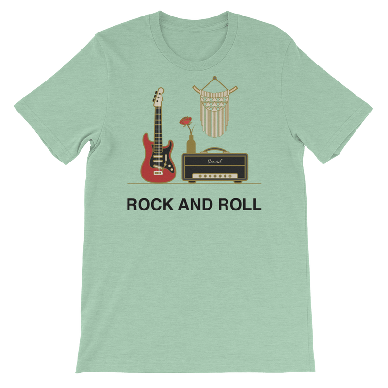 Rock and Roll Jersey Crew Neck T-shirt for Music Lovers - Heather Prism Mint
