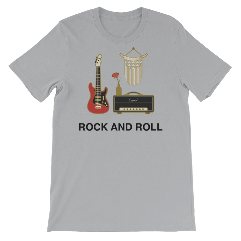 Rock and Roll Jersey Crew Neck T-shirt for Music Lovers - Silver