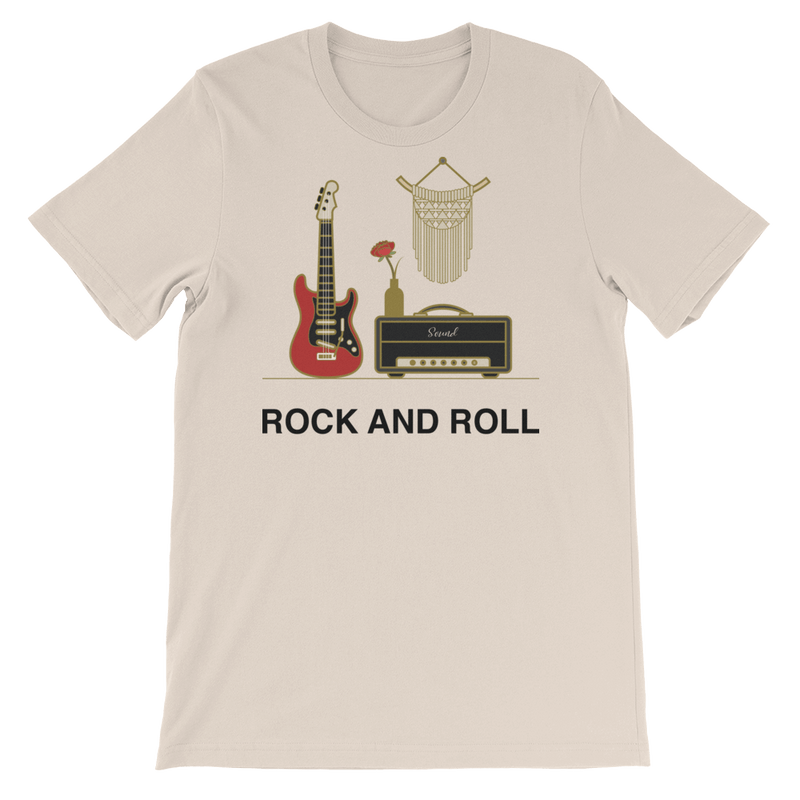 Rock and Roll Jersey Crew Neck T-shirt for Music Lovers - Soft Cream