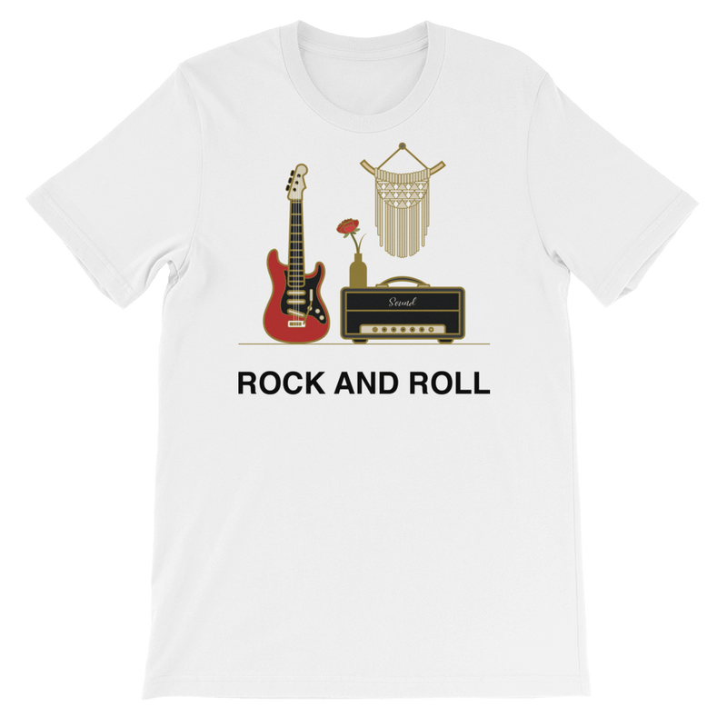 Rock and Roll Jersey Crew Neck T-shirt for Music Lovers - White