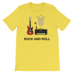 Rock and Roll Jersey Crew Neck T-shirt for Music Lovers - Yellow