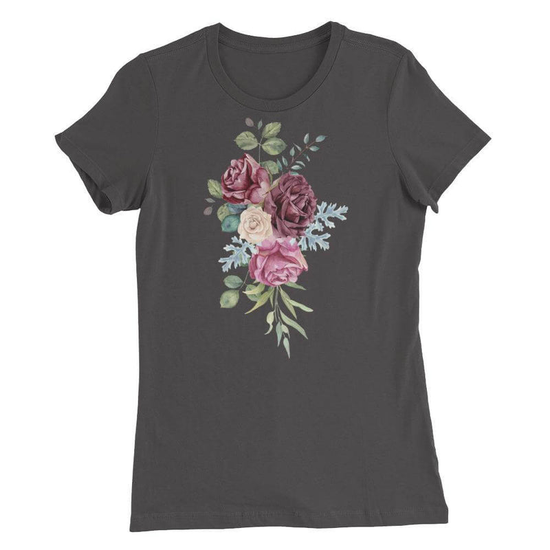 Roses in Watercolor Slim Fit Crew Neck Favorite T-shirt - Asphalt