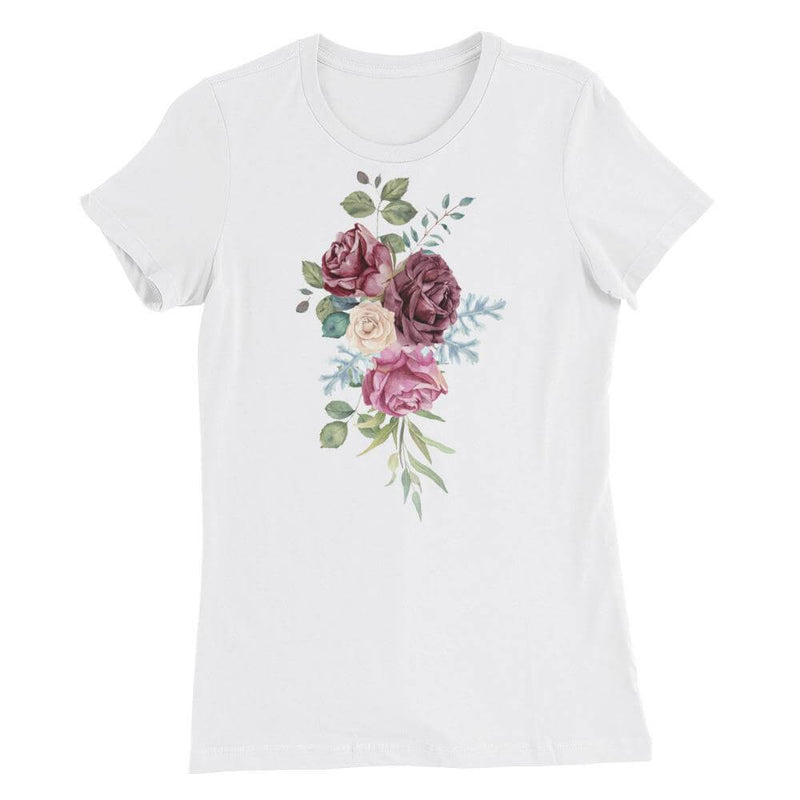 Roses in Watercolor Slim Fit Crew Neck Favorite T-shirt - White