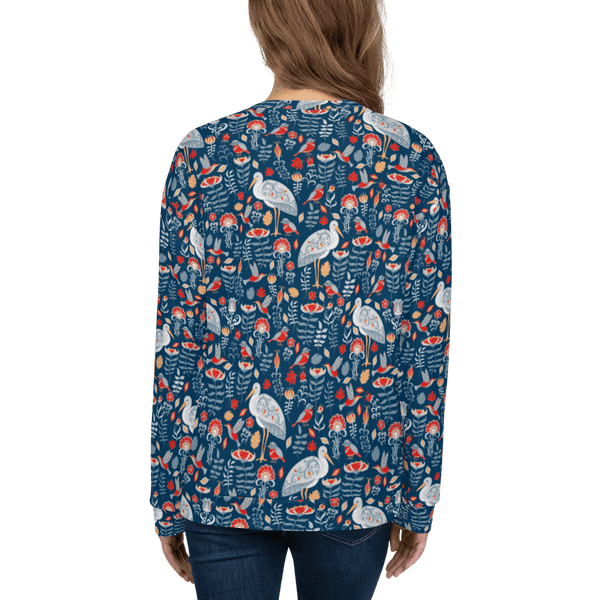 Storks and Hummingbirds Crew Sweatshirt in Folk Art Style - Back