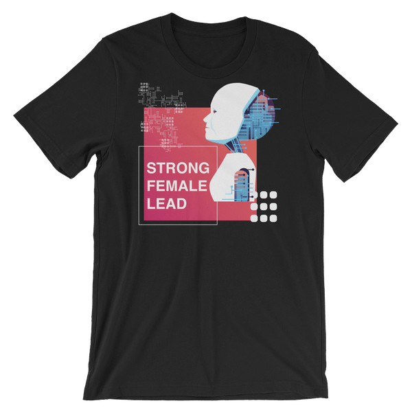 Strong Female Lead Jersey Crew Neck T-shirt with Droid - Black