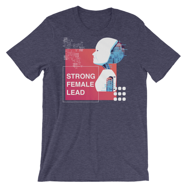 Strong Female Lead Jersey Crew Neck T-shirt with Droid - Heather Midnight Navy
