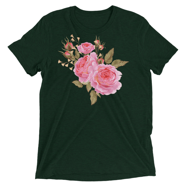 Three Roses Bouquet Soft Triblend Crew Neck T-shirt - Emerald Triblend