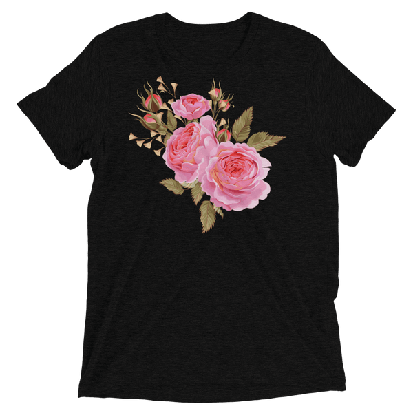 Three Roses Bouquet Soft Triblend Crew Neck T-shirt - Solid Black Triblend
