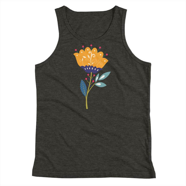 Youth's Buttercup Flower Tank Top in Vibrant Art Style - Dark Grey Heather