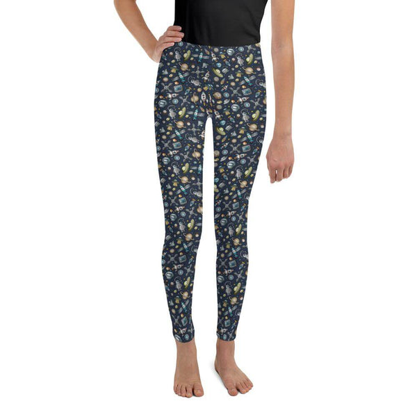 Youth's Space Exploration Leggings for Cosmic Lovers - Front