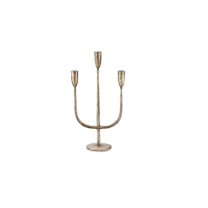 Trident Antique Brass Candle Holder