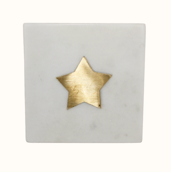 Marble Coaster with Brass Star