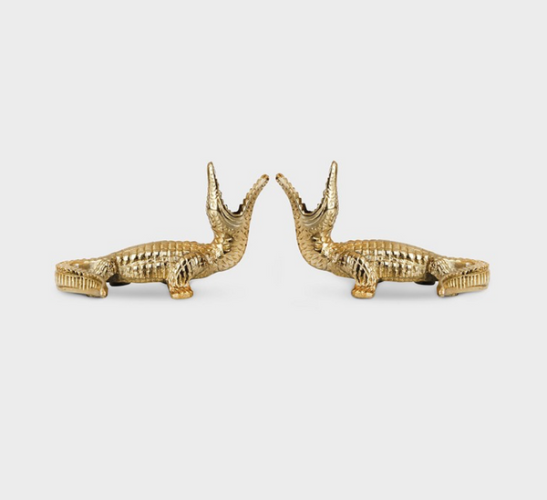 Candle Holder Crocodile Brass