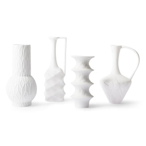 Matt White Porcelain Vases Set of 4