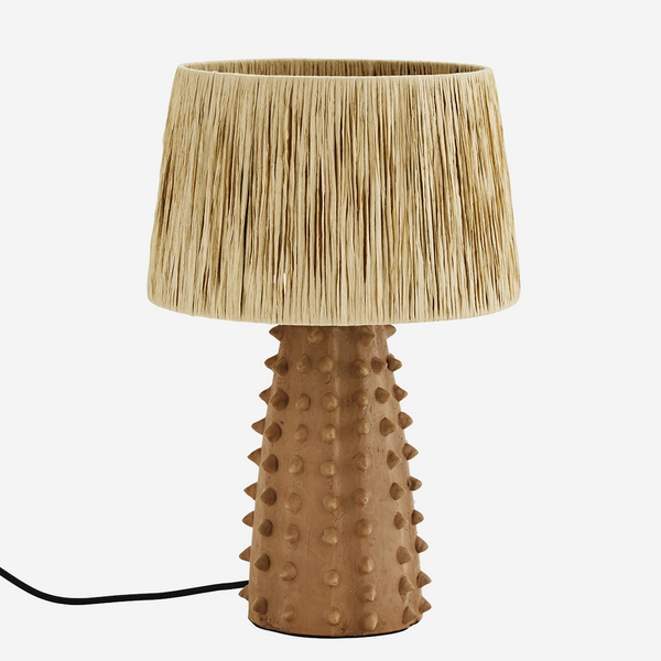 Terracotta Table Lamp with Raffia