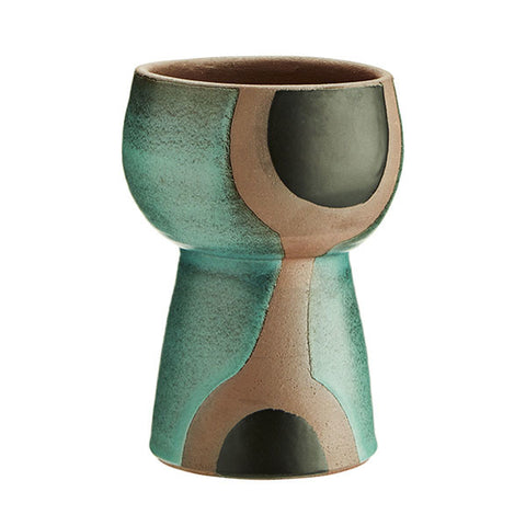 Terracotta Vase with Green/Black Print