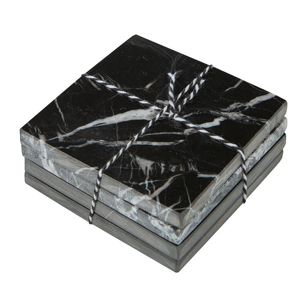Marble Coasters Black Four Piece Set