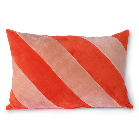 Striped Velvet Cushion Red