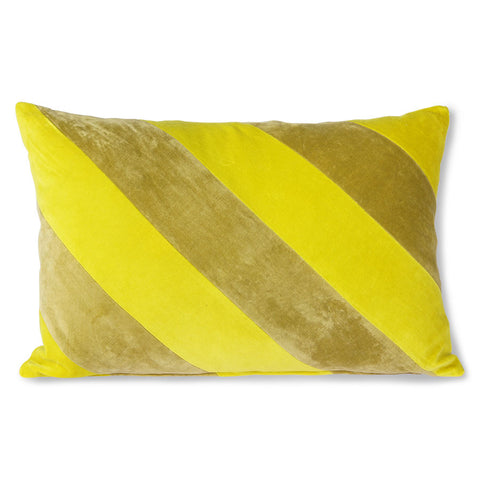 Striped Velvet Cushion Yellow