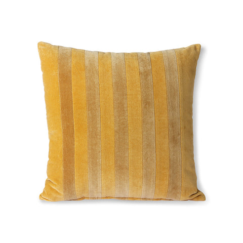 Striped Velvet Cushion Ochre/Gold