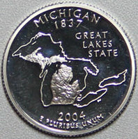 2004 S Michigan Statehood Proof Silver Quarter