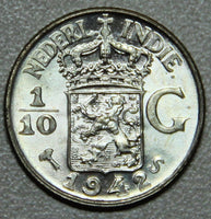 1942 Netherlands East Indies One Tenth Gulden Silver BU-Lot 1