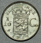 1942 Netherlands East Indies One Tenth Gulden Silver BU-Lot 3