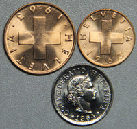 1963, 1964 Switzerland 1-2-5 Rappen BU 3 Coin Set