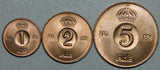 1968 Sweden 1-2-5 Ore BU coin Set